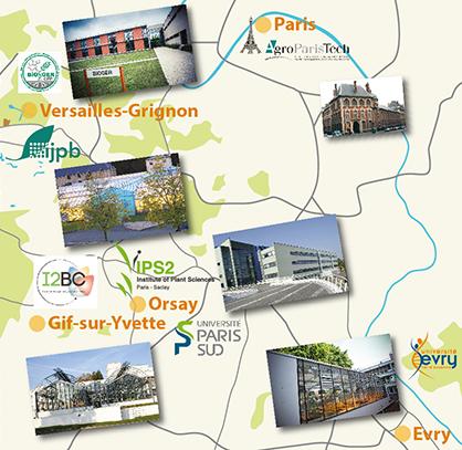 Localisation des instituts I2BC, IPS2, Bioger, IJPB, Université d'Evry